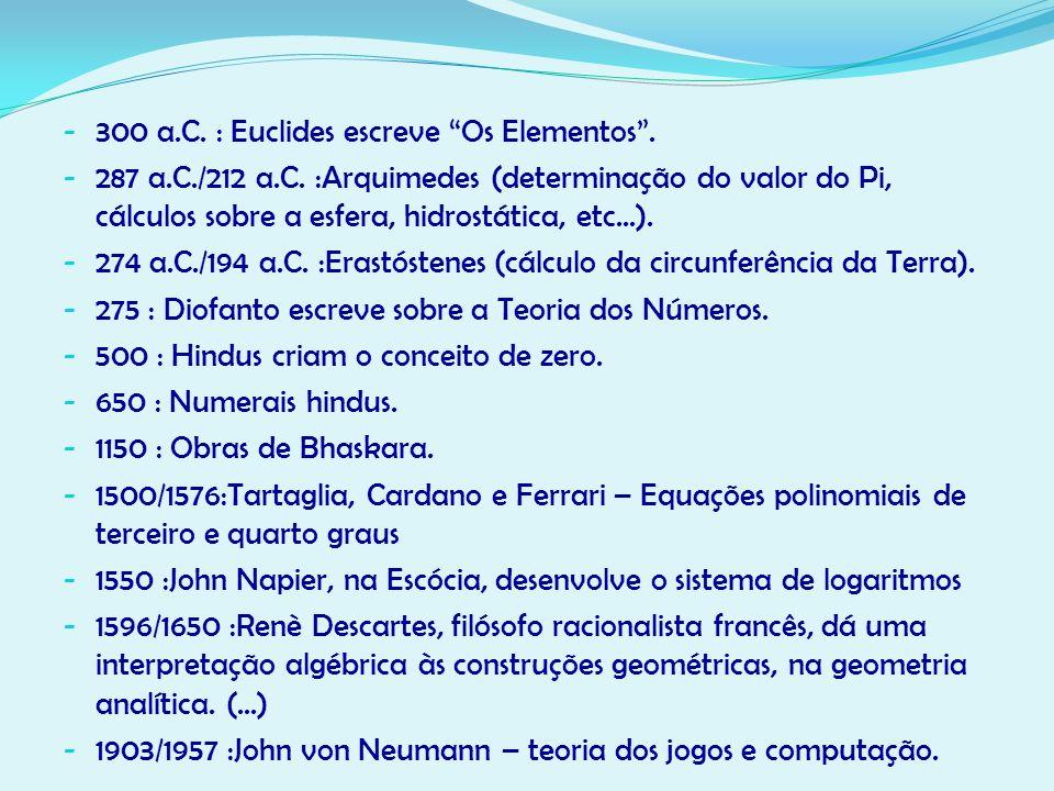 - 300 a.C. : Euclides escreve Os Elementos. - 287 a.C./212 a.C. :Arquimedes (determinação do valor do Pi, cálculos sobre a esfera, hidrostática, etc..