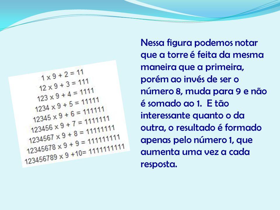 Nessa figura podemos notar que a torre é feita da mesma maneira que a primeira, porém ao invés de ser o número 8, muda para 9 e não é somado ao 1. E t