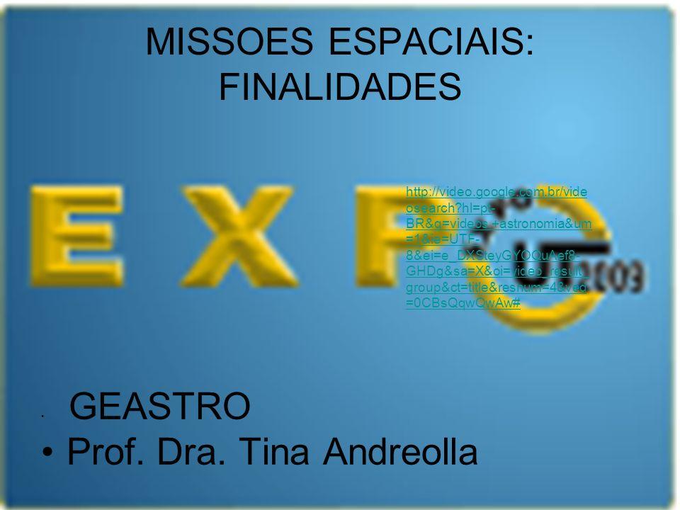 MISSOES ESPACIAIS: FINALIDADES GEASTRO Prof. Dra. Tina Andreolla http://video.google.com.br/vide osearch?hl=pt- BR&q=videos,+astronomia&um =1&ie=UTF-