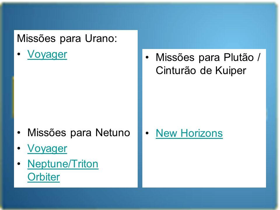 Missões para Urano: Voyager Missões para Netuno Voyager Neptune/Triton OrbiterNeptune/Triton Orbiter Missões para Plutão / Cinturão de Kuiper New Hori