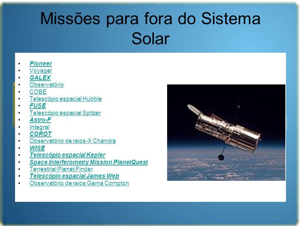 Missões para fora do Sistema Solar Pioneer Voyager GALEX Observatório COBE Telescópio espacial Hubble FUSE Telescópio espacial Spitzer Astro-F Integra