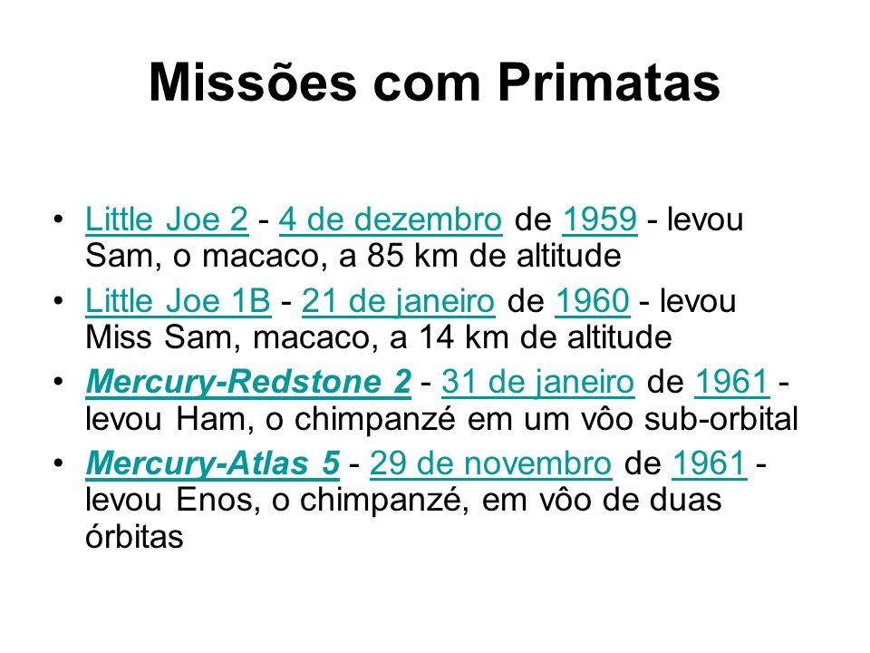 Missões com Primatas Little Joe 2 - 4 de dezembro de 1959 - levou Sam, o macaco, a 85 km de altitudeLittle Joe 24 de dezembro1959 Little Joe 1B - 21 d
