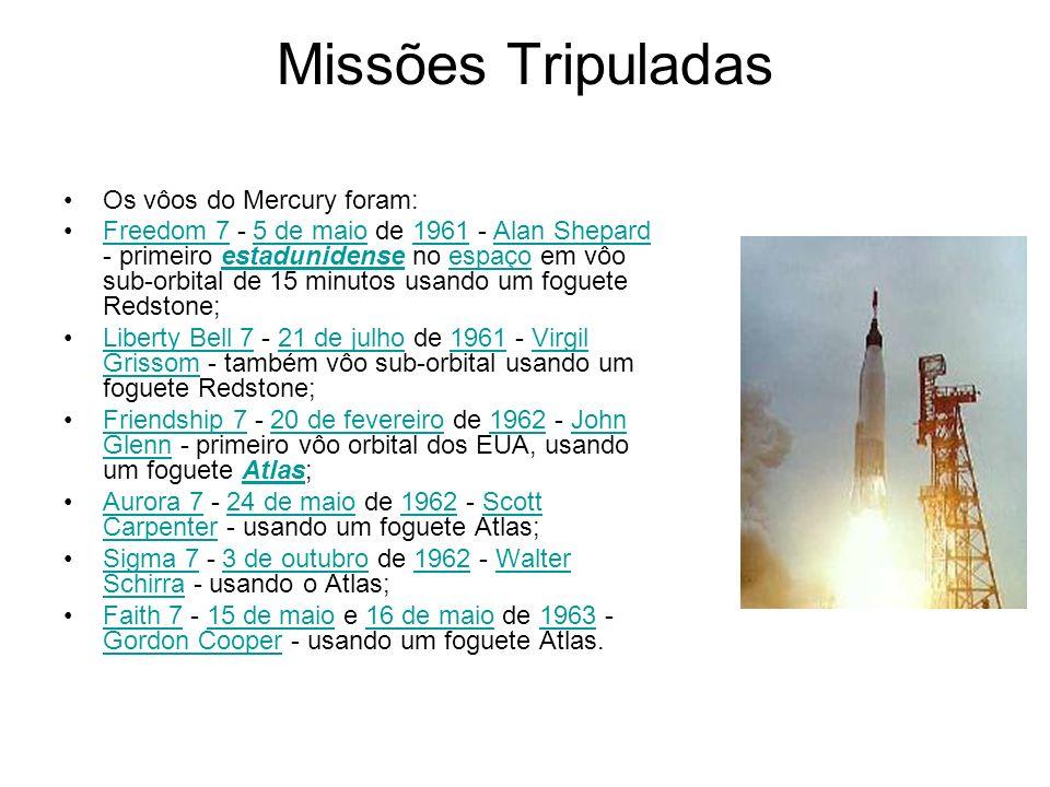 Missões Tripuladas Os vôos do Mercury foram: Freedom 7 - 5 de maio de 1961 - Alan Shepard - primeiro estadunidense no espaço em vôo sub-orbital de 15