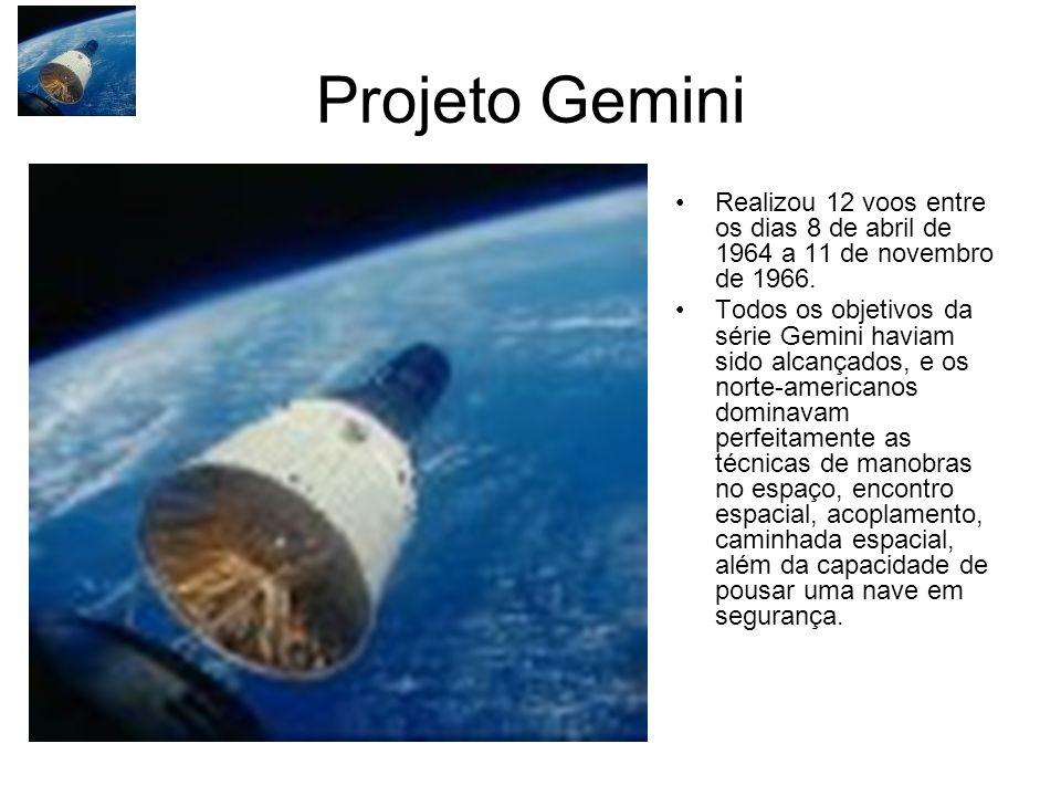 Projeto Gemini Realizou 12 voos entre os dias 8 de abril de 1964 a 11 de novembro de 1966. Todos os objetivos da série Gemini haviam sido alcançados,