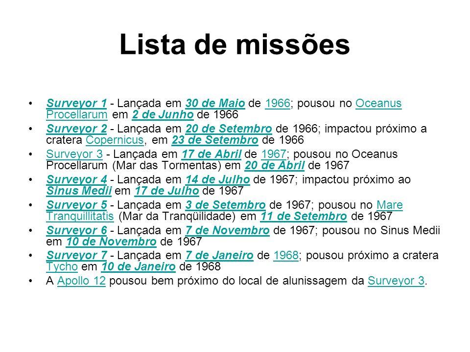 Lista de missões Surveyor 1 - Lançada em 30 de Maio de 1966; pousou no Oceanus Procellarum em 2 de Junho de 1966Surveyor 130 de Maio1966Oceanus Procel