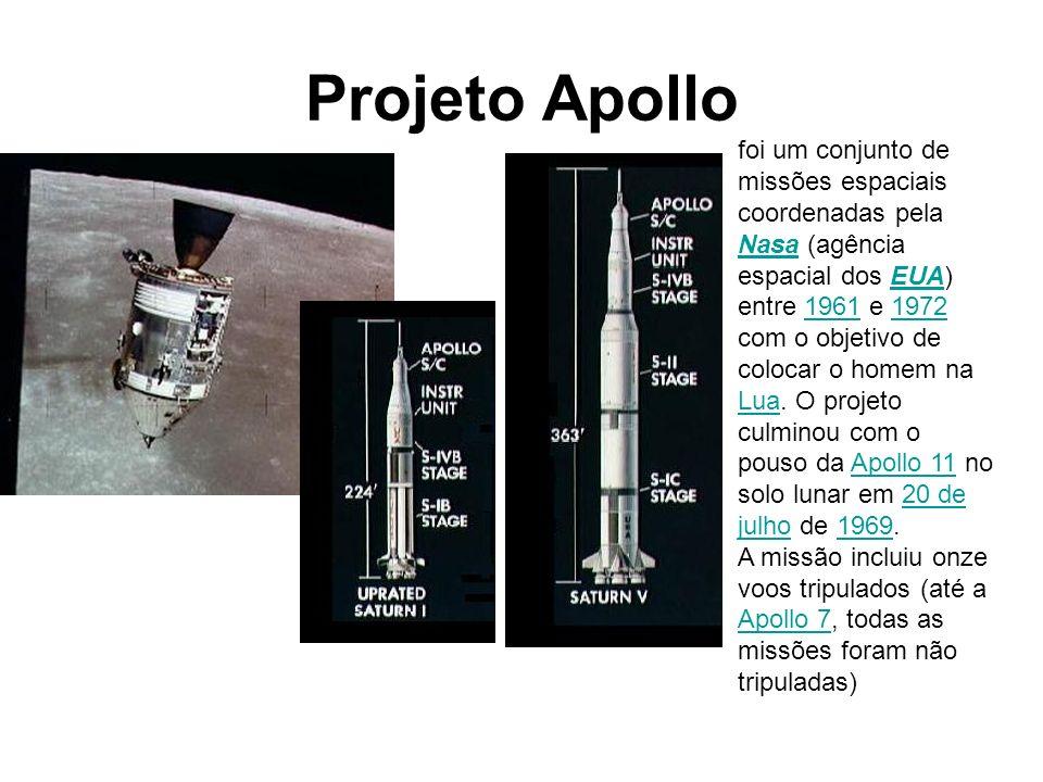Projeto Apollo foi um conjunto de missões espaciais coordenadas pela Nasa (agência espacial dos EUA) entre 1961 e 1972 com o objetivo de colocar o hom