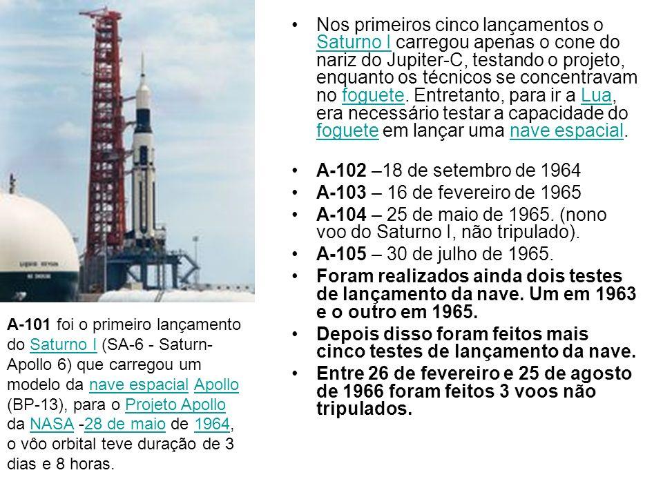 Nos primeiros cinco lançamentos o Saturno I carregou apenas o cone do nariz do Jupiter-C, testando o projeto, enquanto os técnicos se concentravam no