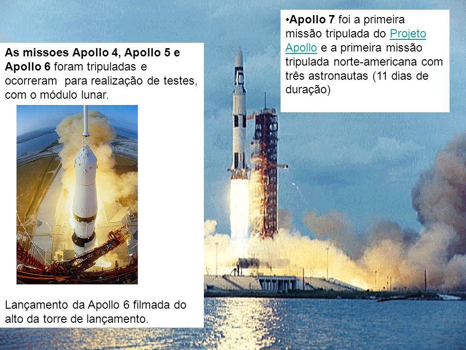 As missoes Apollo 4, Apollo 5 e Apollo 6 foram tripuladas e ocorreram para realização de testes, com o módulo lunar. Lançamento da Apollo 6 filmada do
