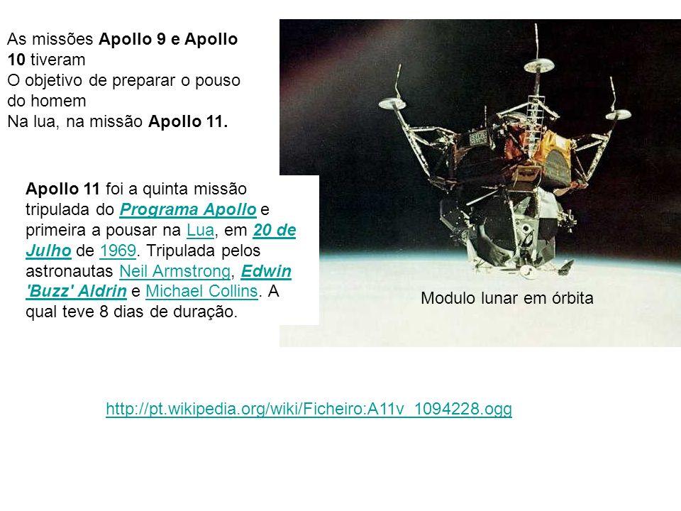 As missões Apollo 9 e Apollo 10 tiveram O objetivo de preparar o pouso do homem Na lua, na missão Apollo 11. Apollo 11 foi a quinta missão tripulada d
