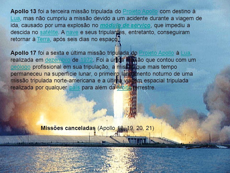 Apollo 13 foi a terceira missão tripulada do Projeto Apollo com destino à Lua, mas não cumpriu a missão devido a um acidente durante a viagem de ida,