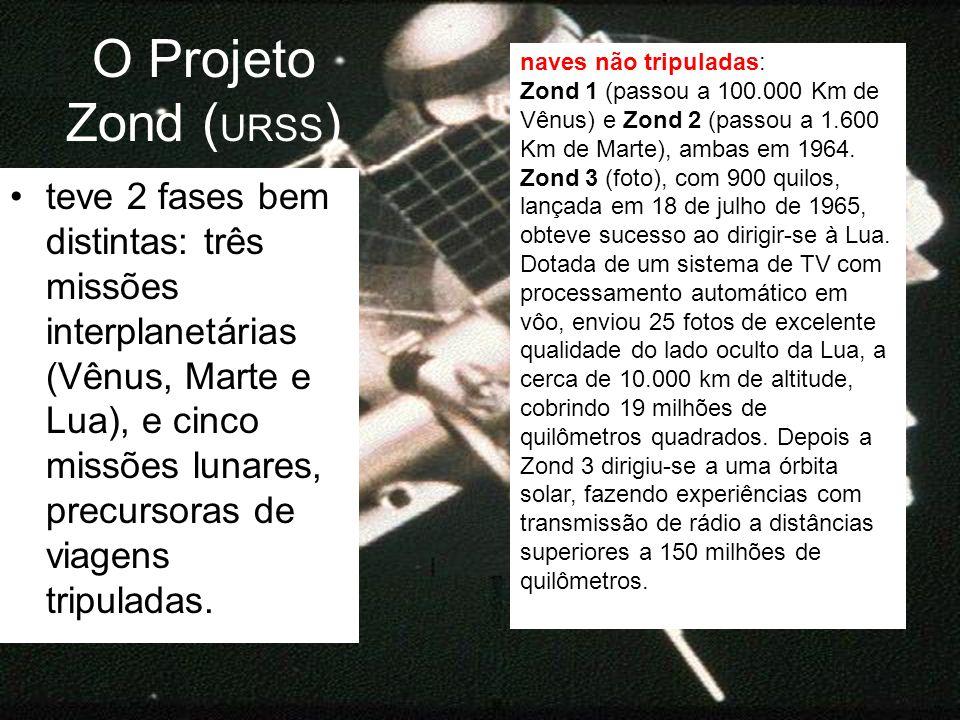 O Projeto Zond ( URSS ) teve 2 fases bem distintas: três missões interplanetárias (Vênus, Marte e Lua), e cinco missões lunares, precursoras de viagen
