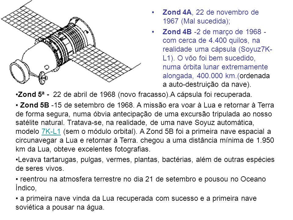 Zond 4A, 22 de novembro de 1967 (Mal sucedida); Zond 4B -2 de março de 1968 - com cerca de 4.400 quilos, na realidade uma cápsula (Soyuz7K- L1). O vôo