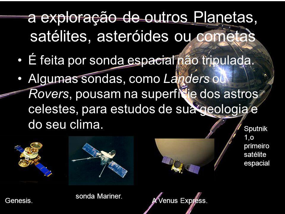 a exploração de outros Planetas, satélites, asteróides ou cometas É feita por sonda espacial não tripulada. Algumas sondas, como Landers ou Rovers, po