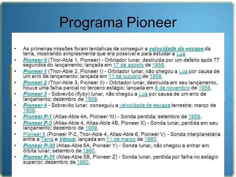 Programa Pioneer As primeiras missões foram tentativas de conseguir a velocidade do escape da terra, mostrando simplesmente que era possível e para es