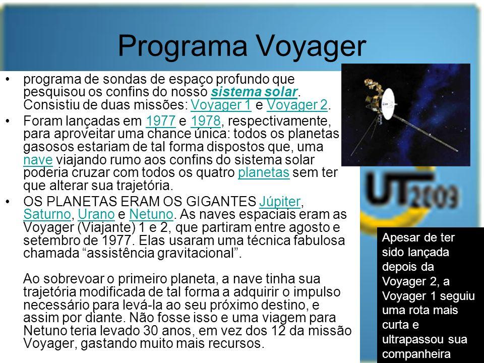 Programa Voyager programa de sondas de espaço profundo que pesquisou os confins do nosso sistema solar. Consistiu de duas missões: Voyager 1 e Voyager