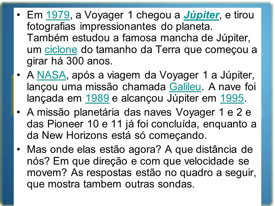 Em 1979, a Voyager 1 chegou a Júpiter, e tirou fotografias impressionantes do planeta. Também estudou a famosa mancha de Júpiter, um ciclone do tamanh