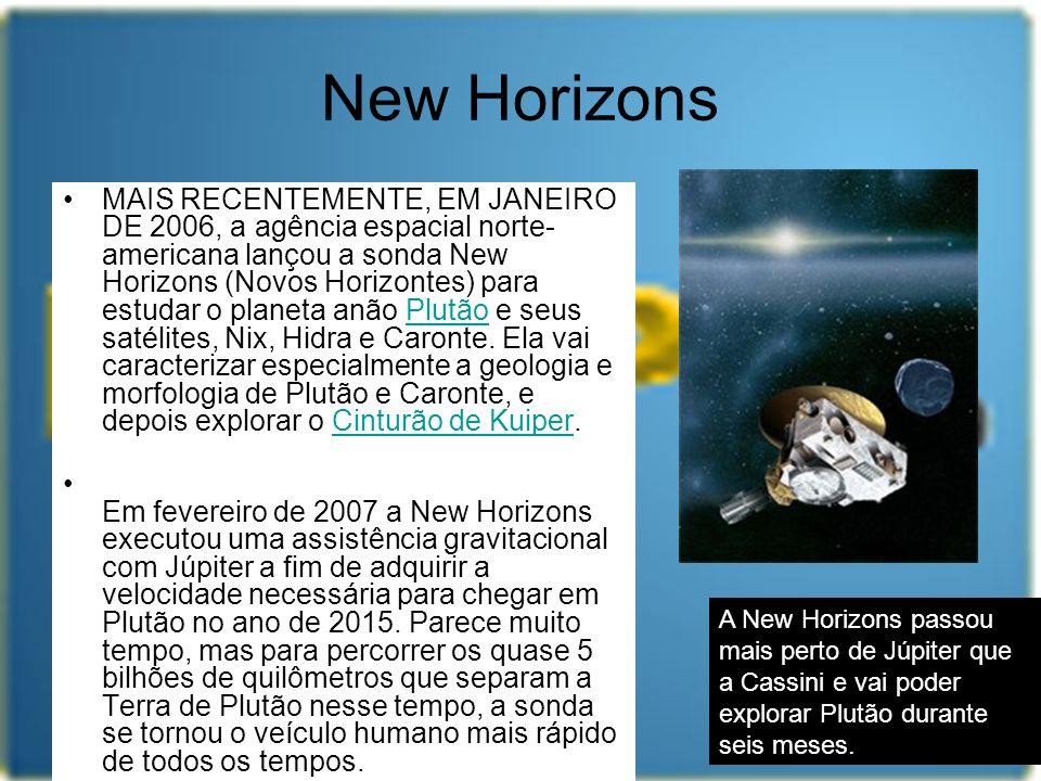 New Horizons MAIS RECENTEMENTE, EM JANEIRO DE 2006, a agência espacial norte- americana lançou a sonda New Horizons (Novos Horizontes) para estudar o