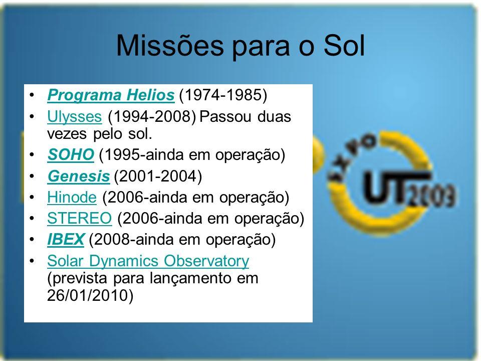 Missões para o Sol Programa Helios (1974-1985)Programa Helios Ulysses (1994-2008) Passou duas vezes pelo sol.Ulysses SOHO (1995-ainda em operação)SOHO
