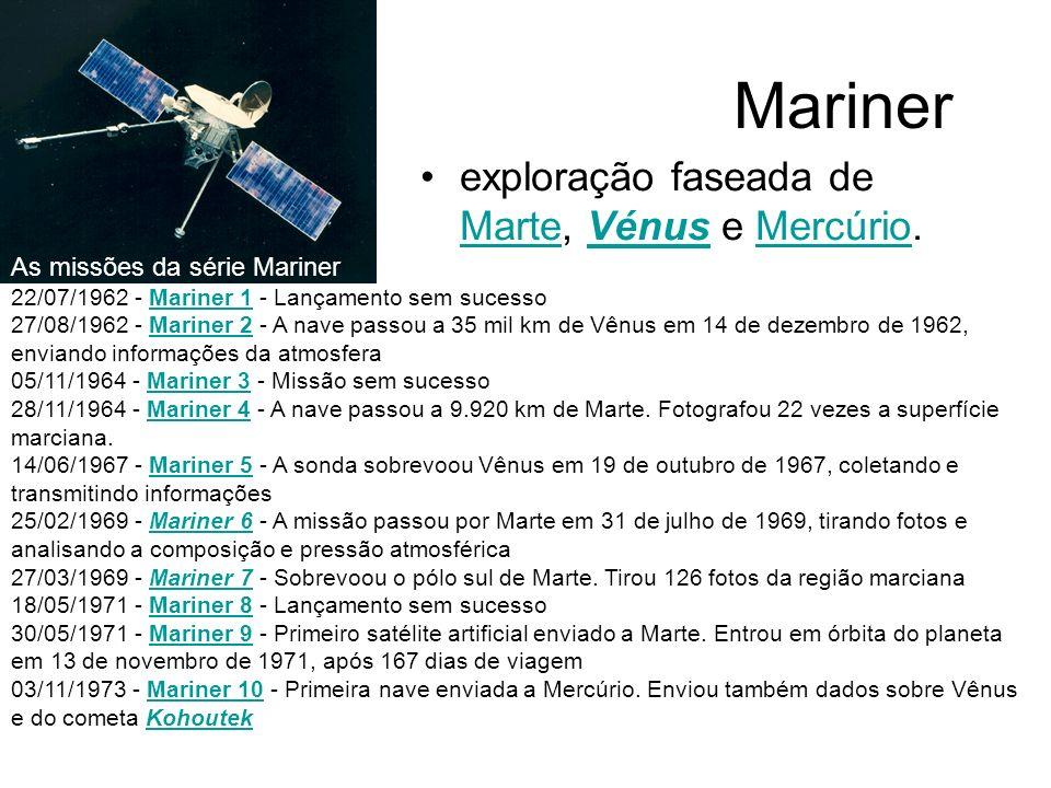 Mariner exploração faseada de Marte, Vénus e Mercúrio. MarteVénusMercúrio As missões da série Mariner 22/07/1962 - Mariner 1 - Lançamento sem sucessoM