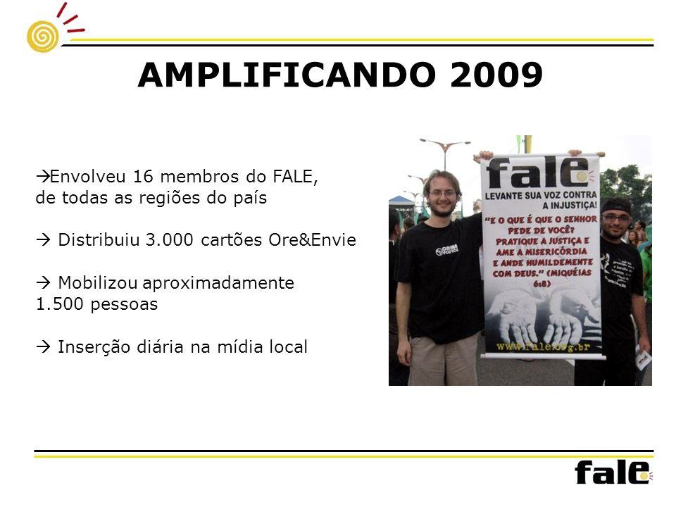 AMPLIFICANDO 2009 Envolveu 16 membros do FALE, de todas as regiões do país Distribuiu 3.000 cartões Ore&Envie Mobilizou aproximadamente 1.500 pessoas Inserção diária na mídia local