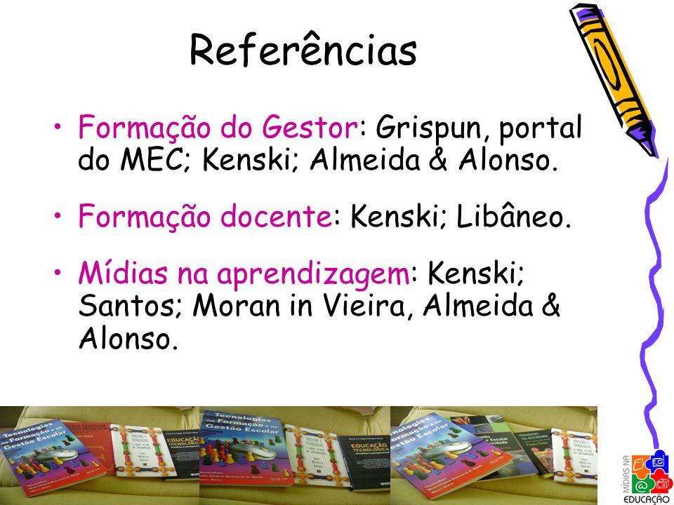 Referências Formação do Gestor: Grispun, portal do MEC; Kenski; Almeida & Alonso. Formação docente: Kenski; Libâneo. Mídias na aprendizagem: Kenski; S