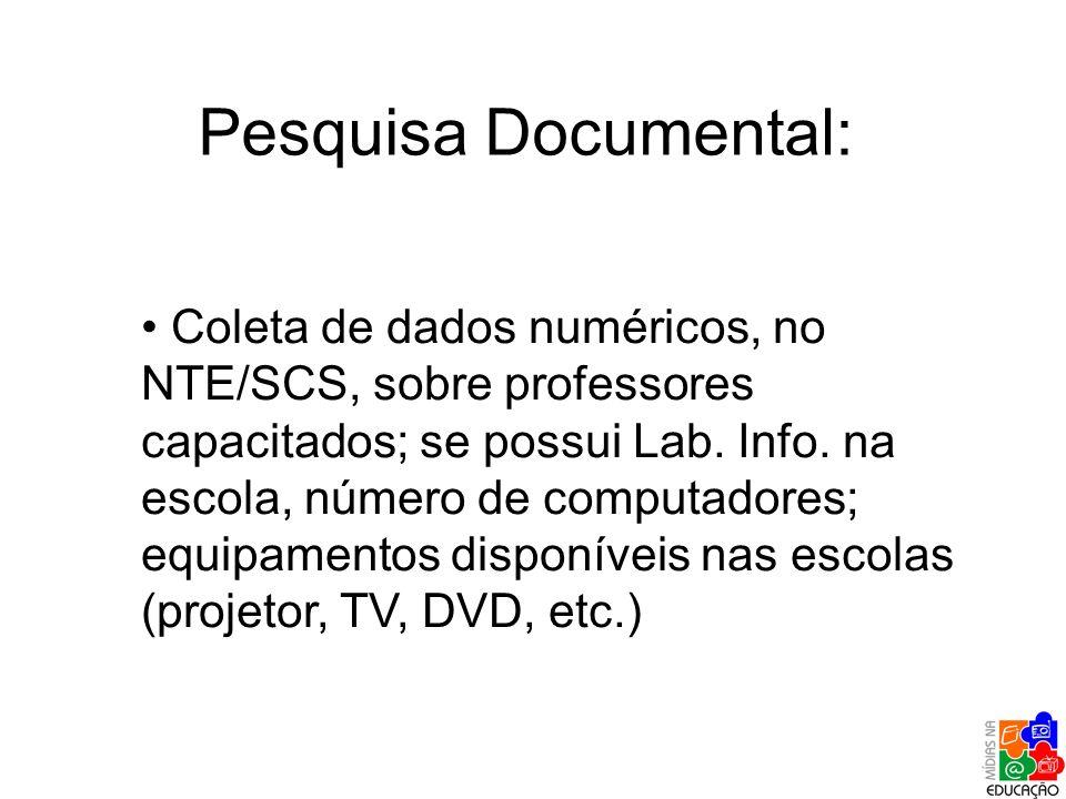 Pesquisa Documental: Coleta de dados numéricos, no NTE/SCS, sobre professores capacitados; se possui Lab. Info. na escola, número de computadores; equ
