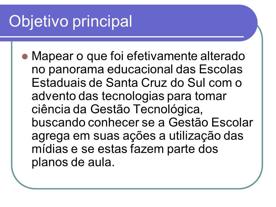 Objetivo principal Mapear o que foi efetivamente alterado no panorama educacional das Escolas Estaduais de Santa Cruz do Sul com o advento das tecnolo