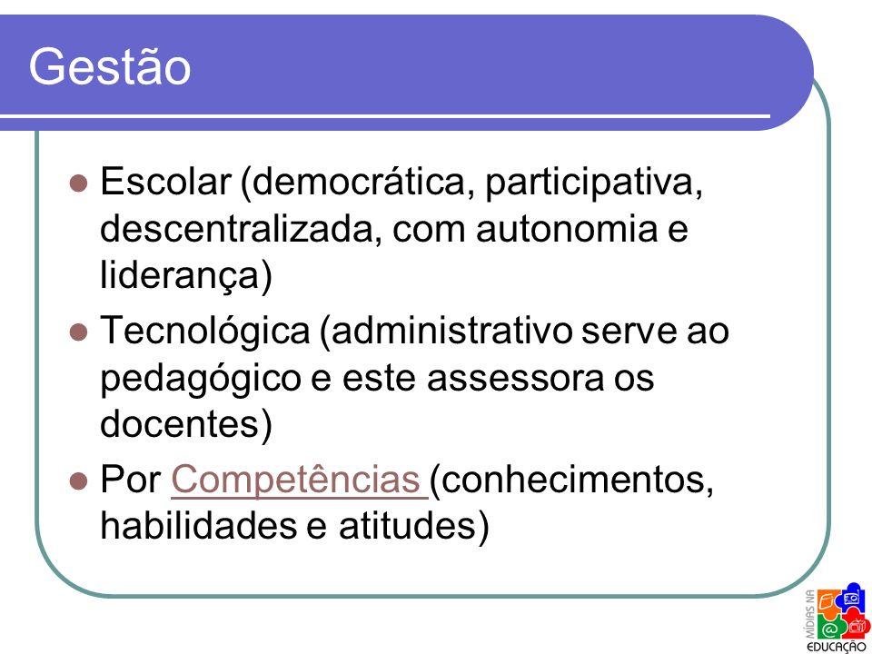 Gestão Escolar (democrática, participativa, descentralizada, com autonomia e liderança) Tecnológica (administrativo serve ao pedagógico e este assesso