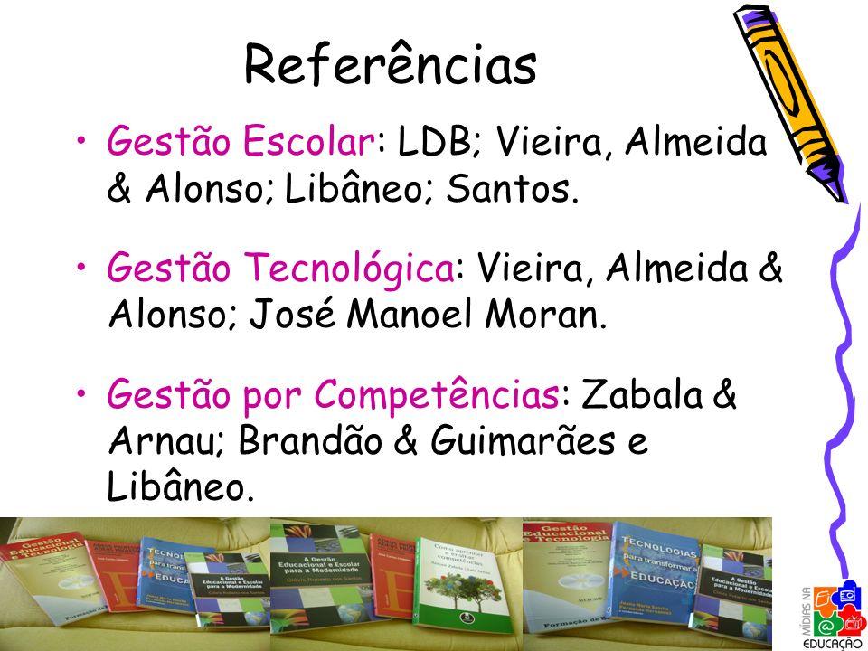 Referências Gestão Escolar: LDB; Vieira, Almeida & Alonso; Libâneo; Santos. Gestão Tecnológica: Vieira, Almeida & Alonso; José Manoel Moran. Gestão po