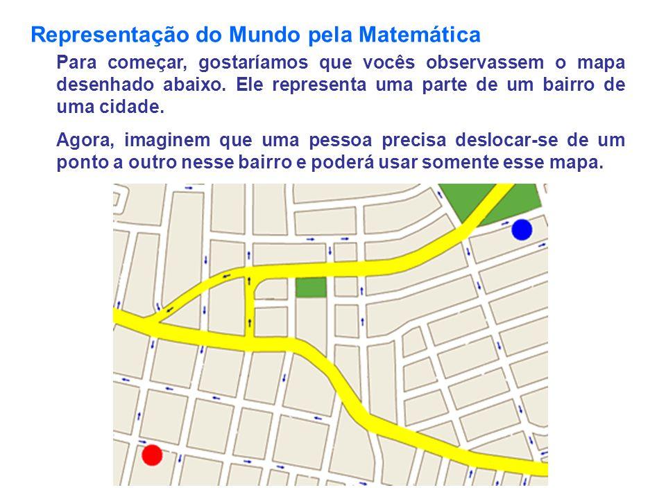 Representação do Mundo pela Matemática Para começar, gostaríamos que vocês observassem o mapa desenhado abaixo. Ele representa uma parte de um bairro