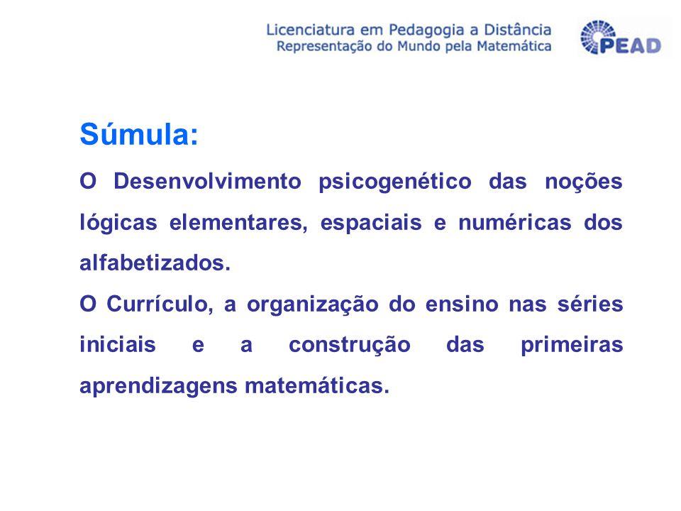 Súmula: O Desenvolvimento psicogenético das noções lógicas elementares, espaciais e numéricas dos alfabetizados. O Currículo, a organização do ensino