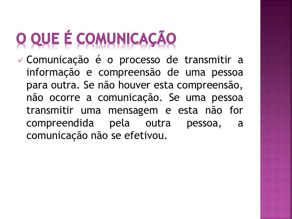 Comunicação é o processo de transmitir a informação e compreensão de uma pessoa para outra.