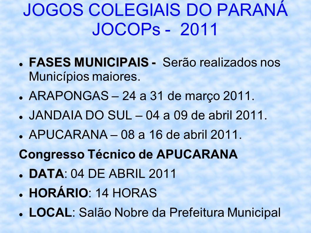 JOGOS COLEGIAIS DO PARANÁ JOCOPs - 2011 FASES MUNICIPAIS - FASES MUNICIPAIS - Serão realizados nos Municípios maiores.
