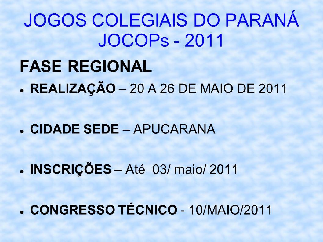 JOGOS COLEGIAIS DO PARANÁ JOCOPs - 2011 FASE REGIONAL REALIZAÇÃO – 20 A 26 DE MAIO DE 2011 CIDADE SEDE – APUCARANA INSCRIÇÕES – Até 03/ maio/ 2011 CONGRESSO TÉCNICO - 10/MAIO/2011