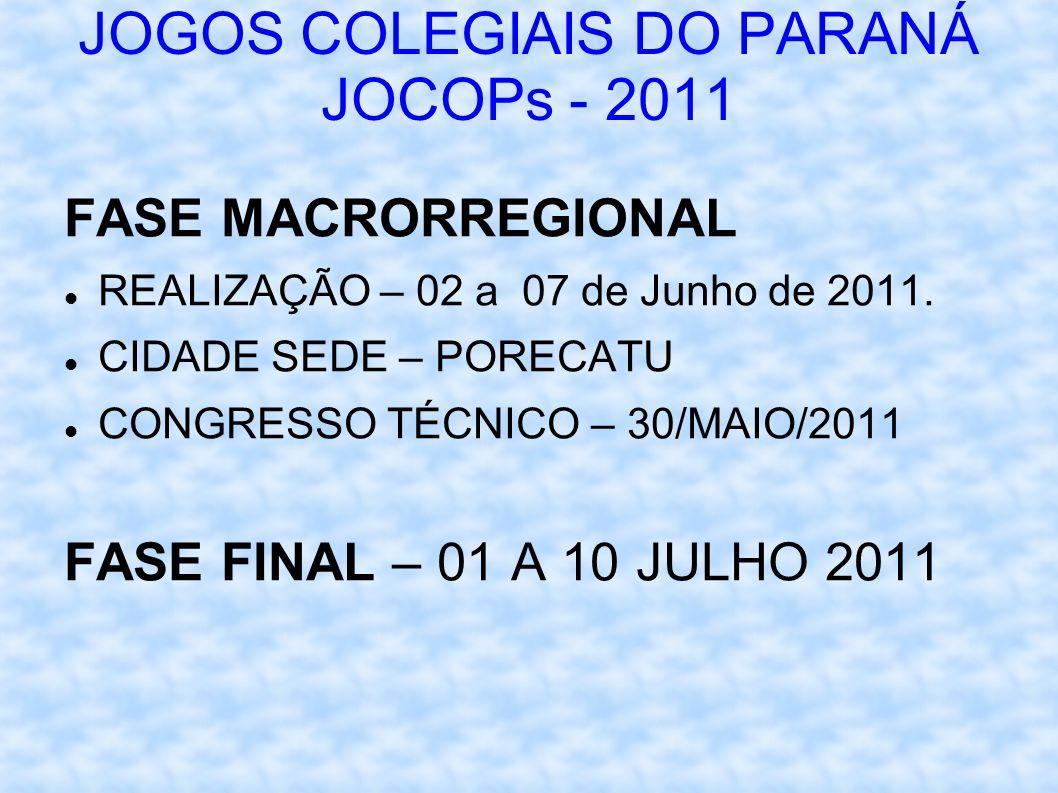 JOGOS COLEGIAIS DO PARANÁ JOCOPs - 2011 FASE MACRORREGIONAL REALIZAÇÃO – 02 a 07 de Junho de 2011.