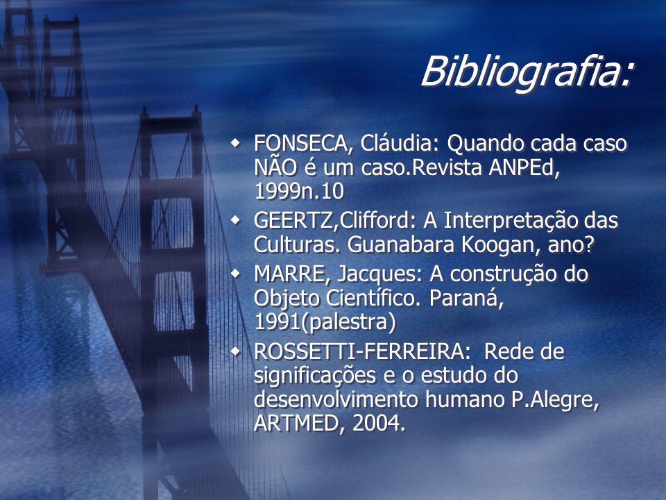 Bibliografia: FONSECA, Cláudia: Quando cada caso NÃO é um caso.Revista ANPEd, 1999n.10 GEERTZ,Clifford: A Interpretação das Culturas. Guanabara Koogan