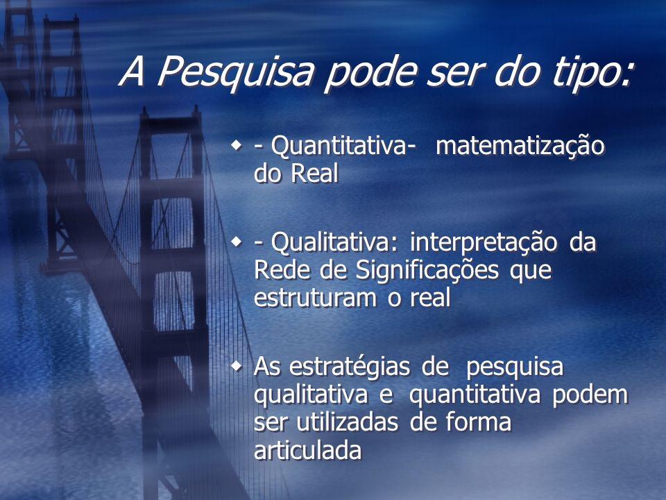 A Pesquisa pode ser do tipo: - Quantitativa- matematização do Real - Qualitativa: interpretação da Rede de Significações que estruturam o real As estr