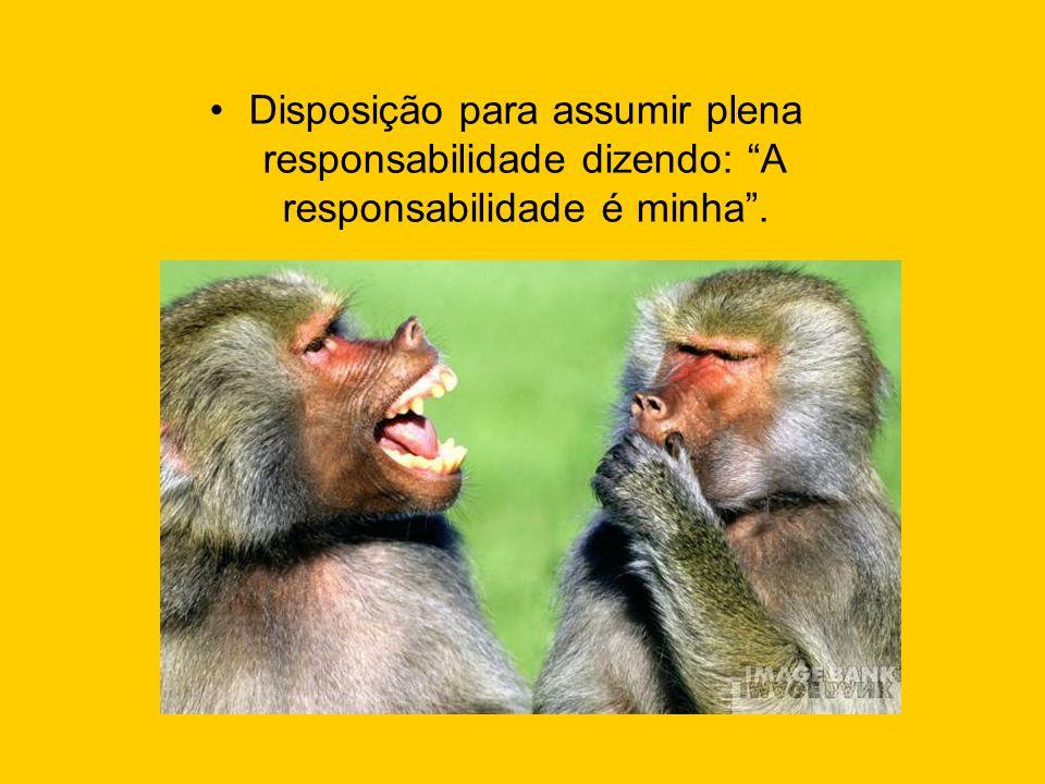 Disposição para assumir plena responsabilidade dizendo: A responsabilidade é minha.