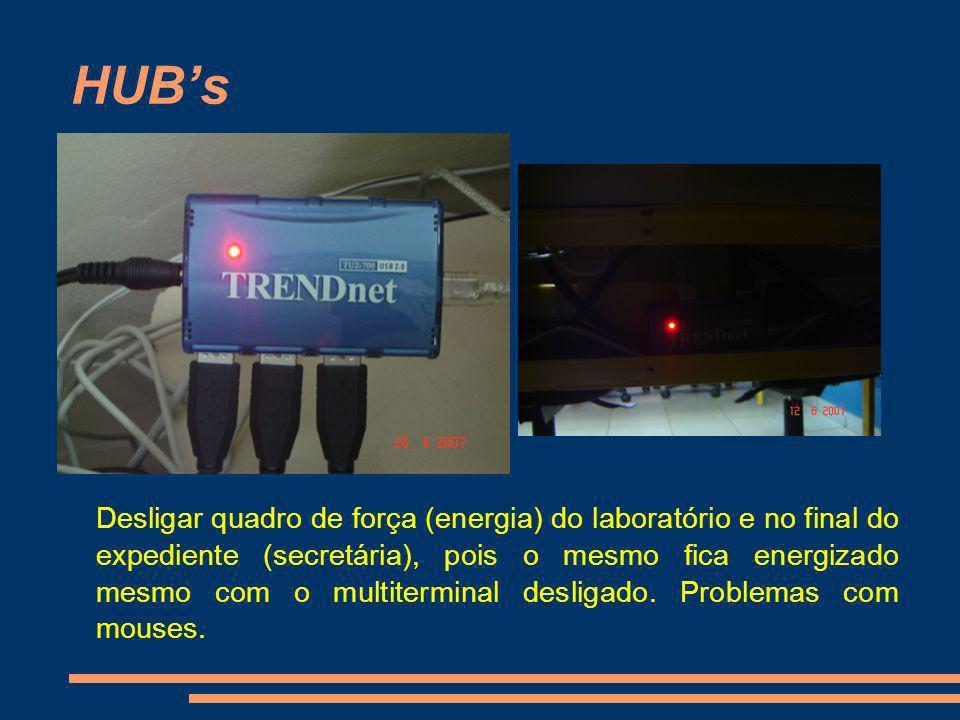 HUBs Desligar quadro de força (energia) do laboratório e no final do expediente (secretária), pois o mesmo fica energizado mesmo com o multiterminal d