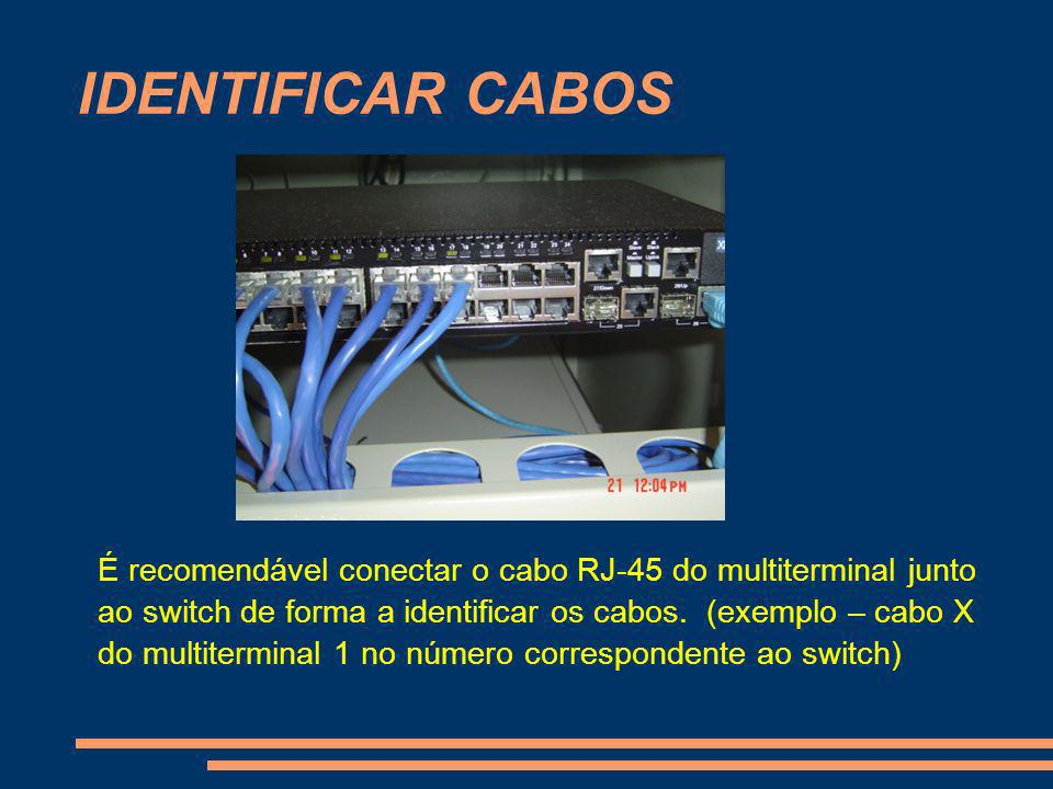IDENTIFICAR CABOS É recomendável conectar o cabo RJ-45 do multiterminal junto ao switch de forma a identificar os cabos. (exemplo – cabo X do multiter