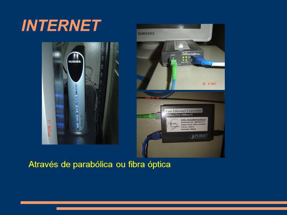 INTERNET Através de parabólica ou fibra óptica