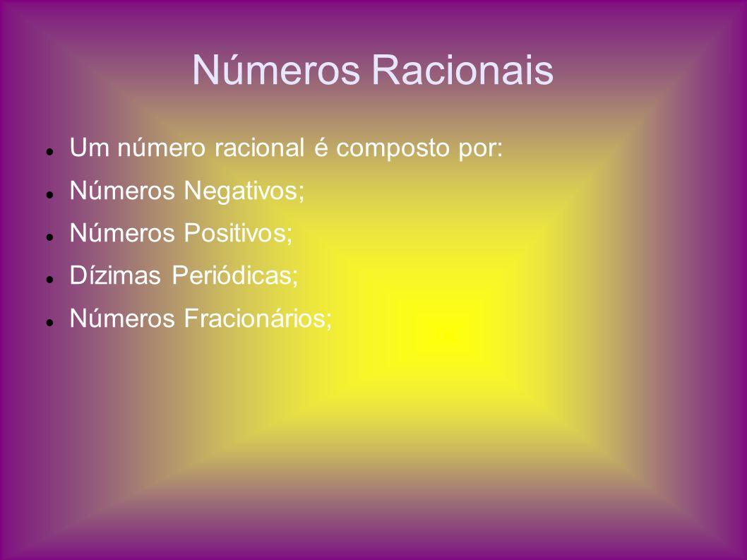 Números Racionais Um número racional é composto por: Números Negativos; Números Positivos; Dízimas Periódicas; Números Fracionários;