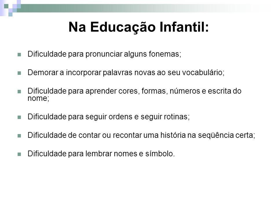 Na Educação Infantil: Dificuldade para pronunciar alguns fonemas; Demorar a incorporar palavras novas ao seu vocabulário; Dificuldade para aprender co