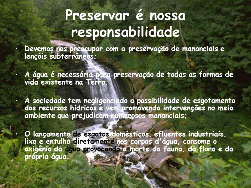 Preservar é nossa responsabilidade Devemos nos preocupar com a preservação de mananciais e lençóis subterrâneos; A água é necessária para preservação