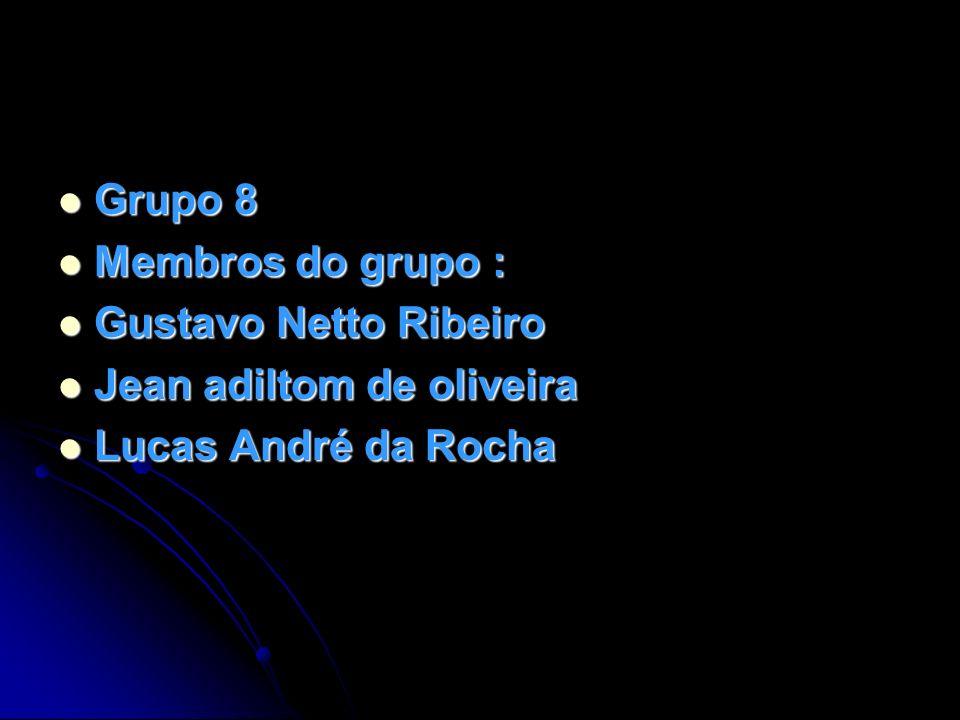 Grupo 8 Grupo 8 Membros do grupo : Membros do grupo : Gustavo Netto Ribeiro Gustavo Netto Ribeiro Jean adiltom de oliveira Jean adiltom de oliveira Lu