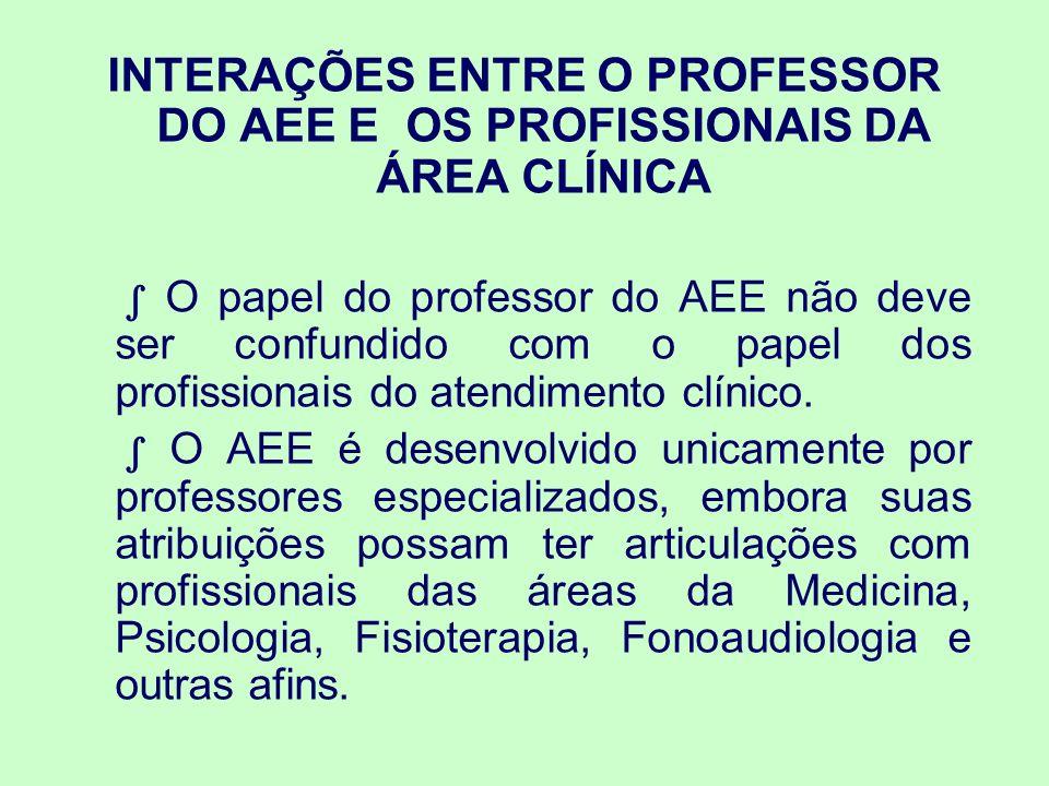 O professor do AEE estabelece interlocuções com os profissionais do atendimento clínico da mesma forma que estabelece parcerias com outras áreas, tais como: arquitetura, engenharia, informática.