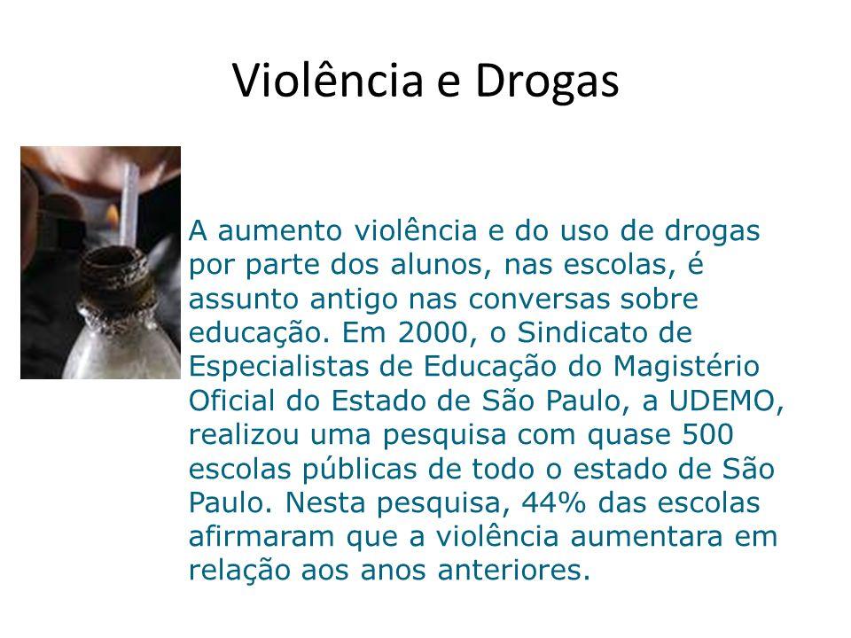 Violência e Drogas A aumento violência e do uso de drogas por parte dos alunos, nas escolas, é assunto antigo nas conversas sobre educação.