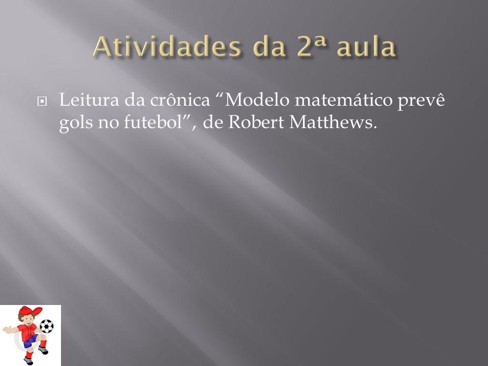 Leitura da crônica Modelo matemático prevê gols no futebol, de Robert Matthews.