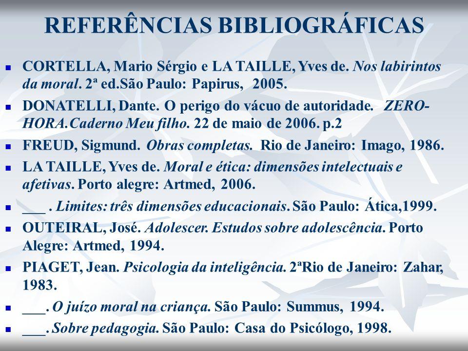 REFERÊNCIAS BIBLIOGRÁFICAS CORTELLA, Mario Sérgio e LA TAILLE, Yves de. Nos labirintos da moral. 2ª ed.São Paulo: Papirus, 2005. DONATELLI, Dante. O p