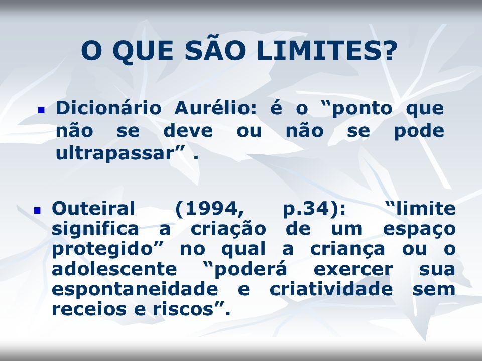 O QUE SÃO LIMITES? Dicionário Aurélio: é o ponto que não se deve ou não se pode ultrapassar. Outeiral (1994, p.34): limite significa a criação de um e